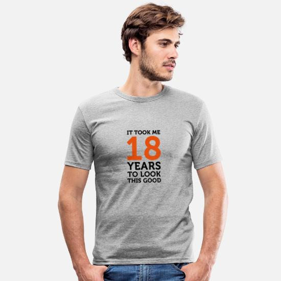 Birthday T-Shirts - It took 18 years to look so good! - Men's Slim Fit T-Shirt heather grey