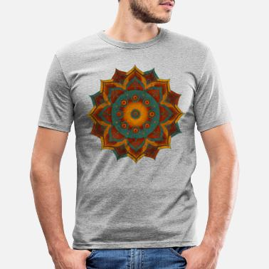 HANDPAN hang drum MANDALA teal red brown - Männer Slim Fit T-Shirt
