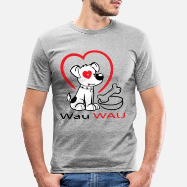 Wau Wau Wau dog with heart - Men's Slim Fit T-Shirt