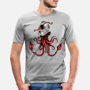 Squid with Diving Helmet - Men's Slim Fit T-Shirt