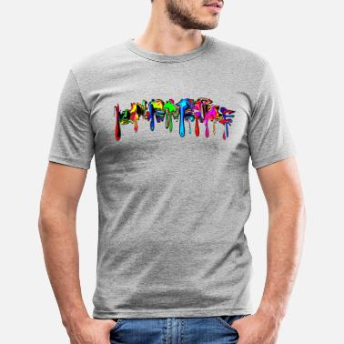 Colour Color, rainbow, graffiti, splash, paint, comic - Men's Slim Fit T-Shirt