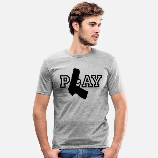 Pistol T-Shirts - Play | Gun | Waffe - Men's Slim Fit T-Shirt heather grey
