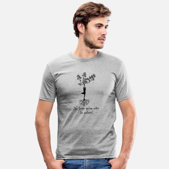 Forêt T-shirts - contact avec la nature - T-shirt moulant Homme gris chiné