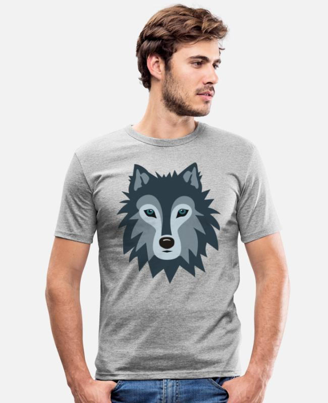 Stag T-Shirts - Wolf - Men's Slim Fit T-Shirt heather grey