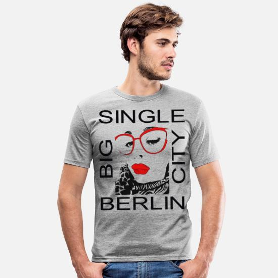 Big T-shirts - Berlin Singel Big City - T-shirt moulant Homme gris chiné
