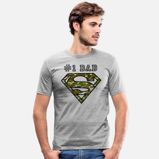 Superman T-shirts - Superman Super Dad Army - Mannen slim fit T-shirt grijs gemêleerd