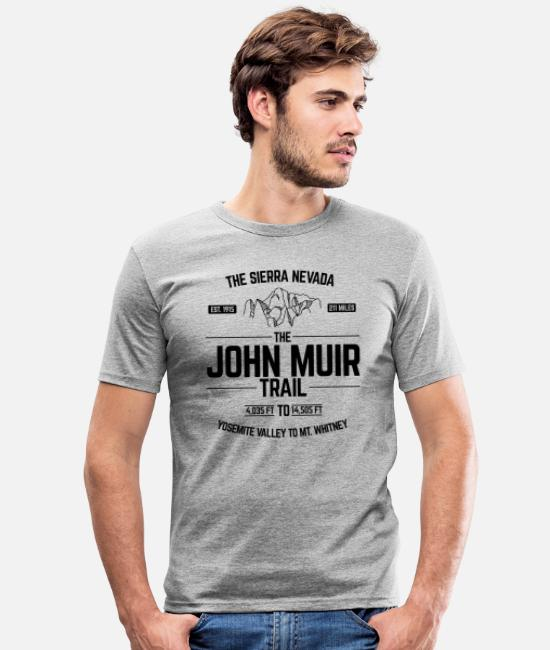 Trail T-Shirts - The John Muir Trail JMT for ThruHikers - Men's Slim Fit T-Shirt heather grey
