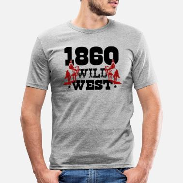 Wild West cowboy cadeau tee shirt western country rodeo - T-shirt moulant Homme