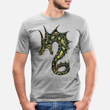 Digital Drache, dragon, digital, blau - Männer Slim Fit T-Shirt