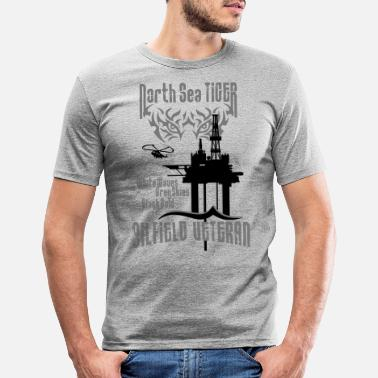 Oil North Sea Oil Rig Oil Field Veteran - Men's Slim Fit T-Shirt