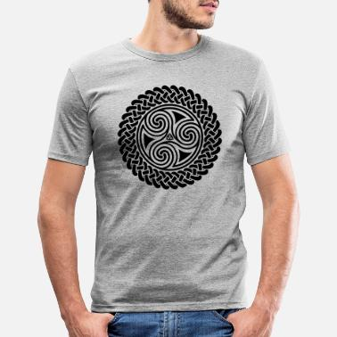 Celtic Triple Spiral in Celtic band - Men's Slim Fit T-Shirt