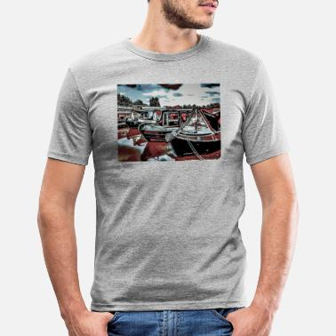 Marina Canal Boat Marina, Northampton - Men's Slim Fit T-Shirt