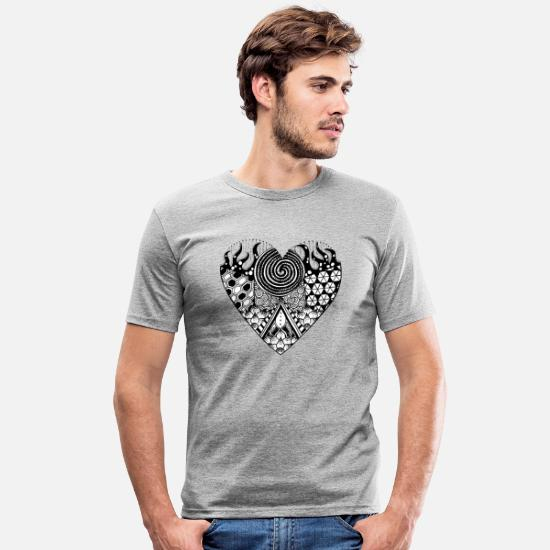 Gift Idea T-Shirts - Heart zentangle patterncontest - Men's Slim Fit T-Shirt heather grey
