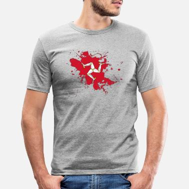 Man Isle of Man flag as a splash of color - Men's Slim Fit T-Shirt