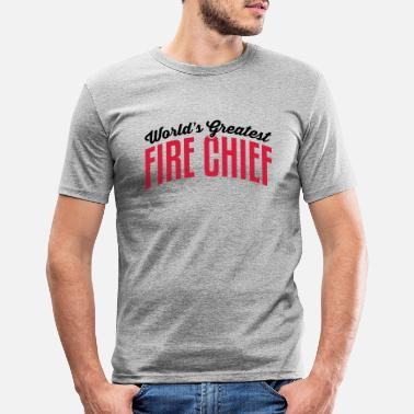 Fire worlds greatest fire chief 2col copy - Men's Slim Fit T-Shirt