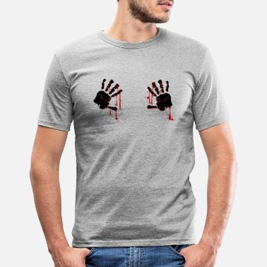 Afferra Mani Afferra le mani insanguinate di zombi / Happy Halloween - Maglietta slim fit uomo