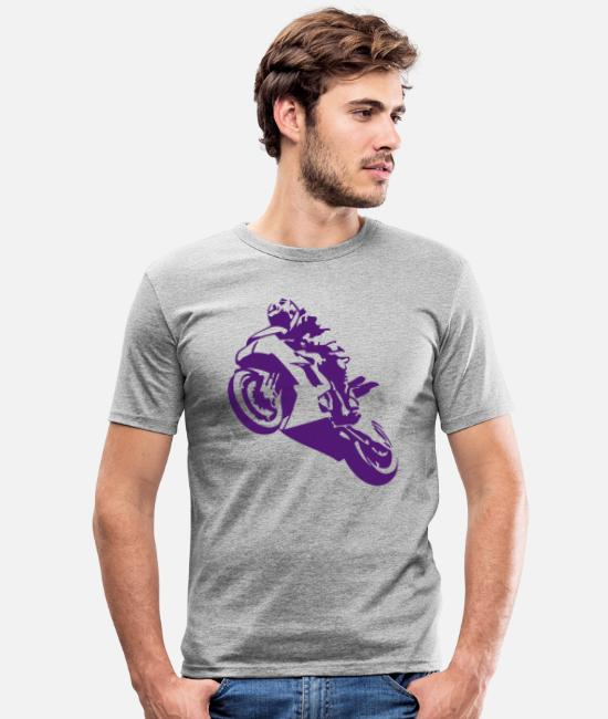 Curves T-Shirts - Superbike uk - Men's Slim Fit T-Shirt heather grey