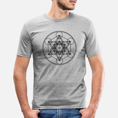 Cube Metatrons Cube Sacred Geometry Flower Life Science - Men's Slim Fit T-Shirt