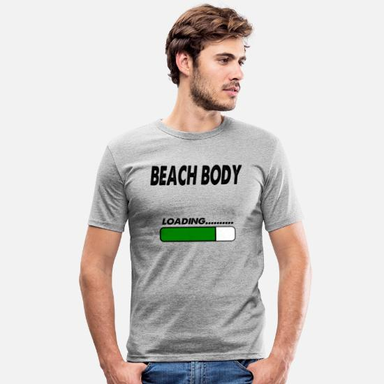 Body Builder T-Shirts - beach body - Men's Slim Fit T-Shirt heather grey