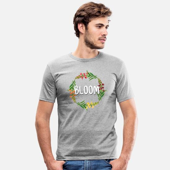 Red T-Shirts - Bloom - Men's Slim Fit T-Shirt heather grey