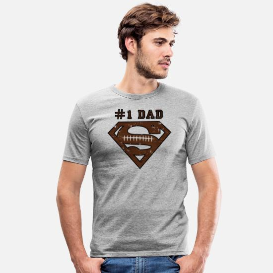 Superman T-shirts - Superman Super Dad Football - Mannen slim fit T-shirt grijs gemêleerd