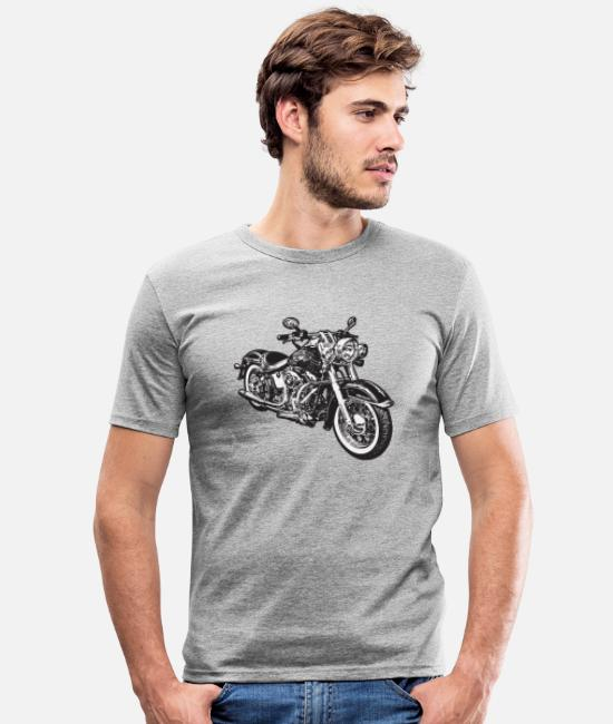 Hog T-Shirts - chopper hog bike motorrad - Men's Slim Fit T-Shirt heather grey