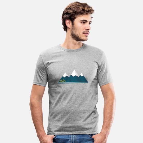 Mountain T-Shirts - Mountains mountains mountain bike gift - Men's Slim Fit T-Shirt heather grey