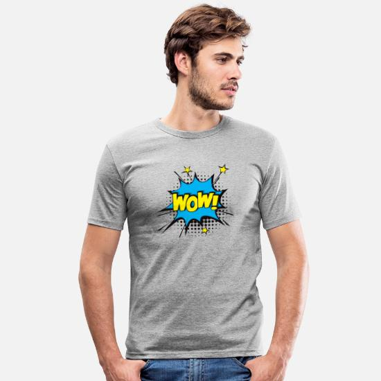 Gift Idea T-Shirts - WOW!!! Boooom !!! - Men's Slim Fit T-Shirt heather grey