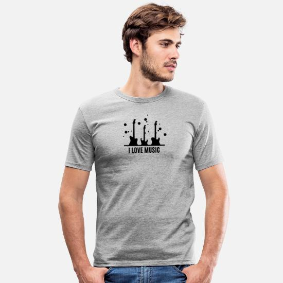 Love T-Shirts - I love music ... I love music ... with guitar - Men's Slim Fit T-Shirt heather grey