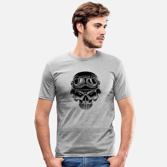 Alcohol T-Shirts - Biker skull skull - Men's Slim Fit T-Shirt heather grey