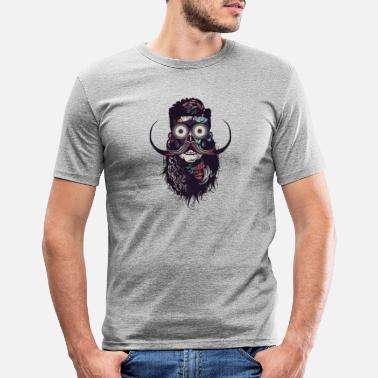 Mustache hipster skull and crossbones bearded skull mustache b - Men's Slim Fit T-Shirt
