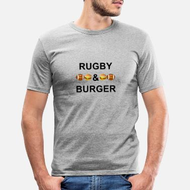 Sporty Rugby & Burgers - Men's Slim Fit T-Shirt