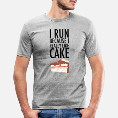 Funny Running I Run Because I Really Like Cake - Men's Slim Fit T-Shirt