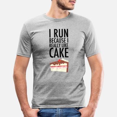 Funny Running I Run Because I Really Like Cake - Men's Slim Fit T-Shirt