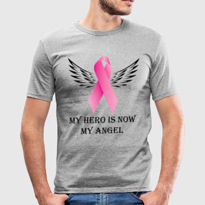 Min hjälte är nu min ängel. Cancer Awareness Design - Slim Fit T-shirt herr