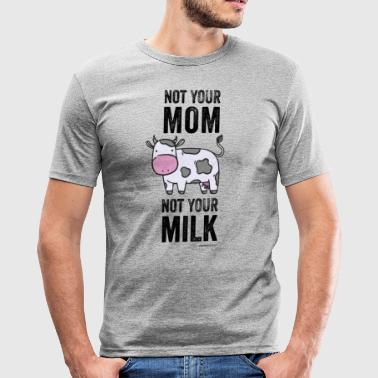 Vegan Cow T-Shirt Not Your Mom. Not Your Milk. - Obcisła koszulka męska
