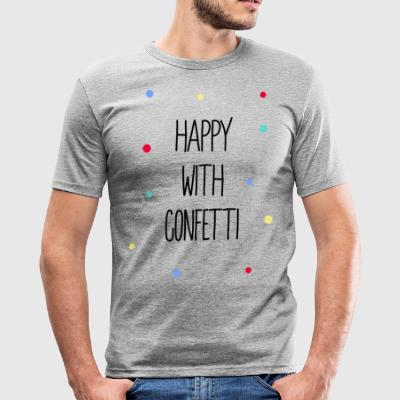 Happy with confetti - Men's Slim Fit T-Shirt