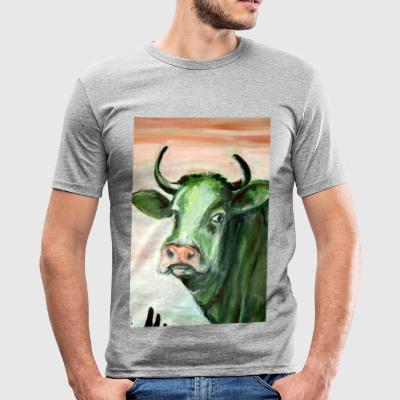 green cow portrait acrylic painting expressionistic - Men's Slim Fit T-Shirt