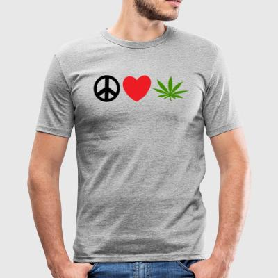 Peace Love Marijuana Cannabis Weed Pot - Men's Slim Fit T-Shirt