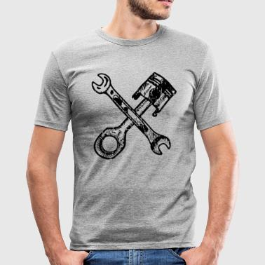Tuningpiston med krydsede skruenøgler - Herre Slim Fit T-Shirt