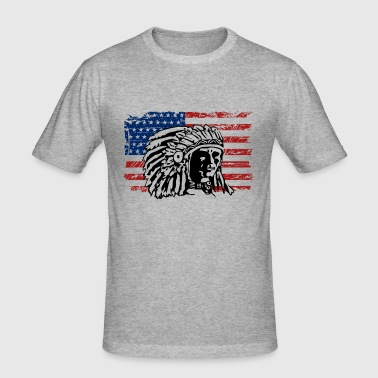 USA Flag - Indian Chief - Vintage Look - Men's Slim Fit T-Shirt