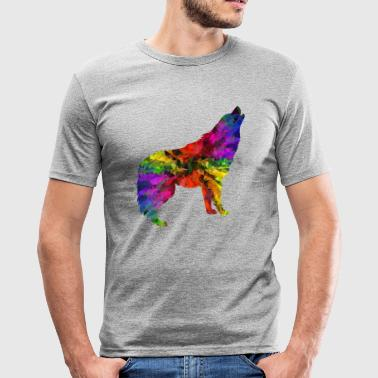 Wolf Rainbow - Slim Fit T-skjorte for menn