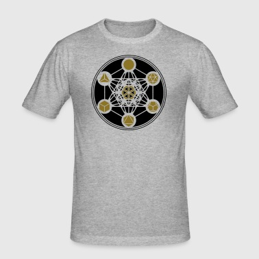 Platonic Solids, Metatrons Cube, Flower of Life - Men's Slim Fit T-Shirt