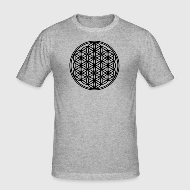 Flower of Life - Vector -  01, c, sacred geometry, energy, symbol, powerful, healing, protection, cl - Men's Slim Fit T-Shirt