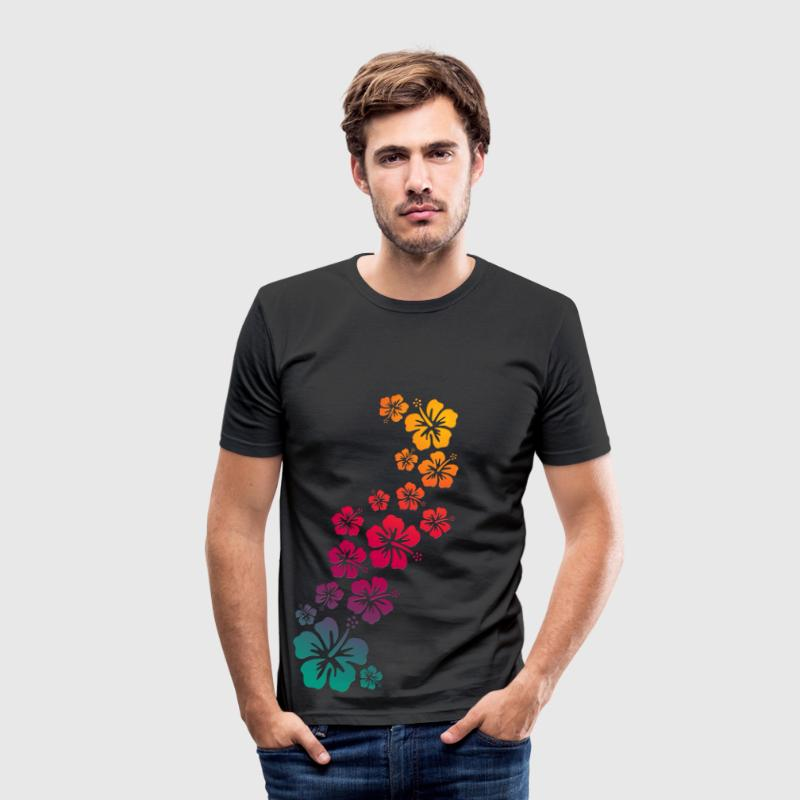 BALI hibiscus blooms coloured - Männer Slim Fit T-Shirt