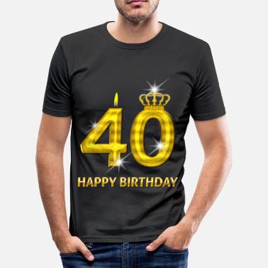 40 Jaar Happy Birthday 40 - happy birthday - verjaardag - nummer goud - slim fit T-shirt