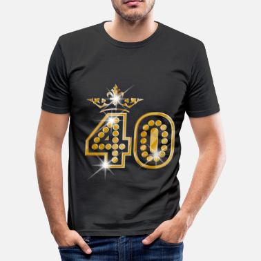 Glitzer Geburtstag 40 - Birthday - Queen - Gold - Burlesque - Männer Slim Fit T-Shirt