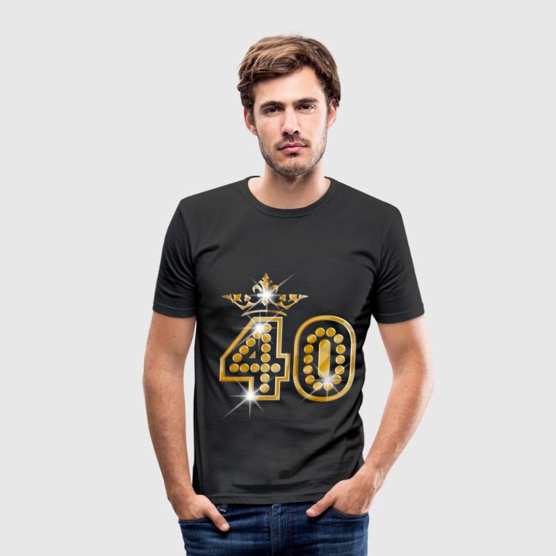 40 - Birthday - Queen - Gold - Burlesque - Herre Slim Fit T-Shirt