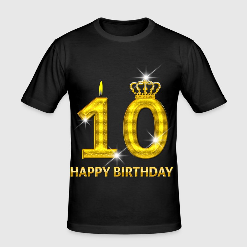 10-happy birthday - verjaardag - nummer goud - slim fit T-shirt