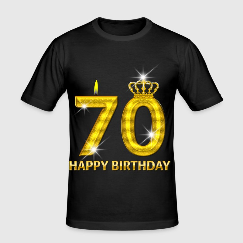 70 - happy birthday - verjaardag - nummer goud - slim fit T-shirt